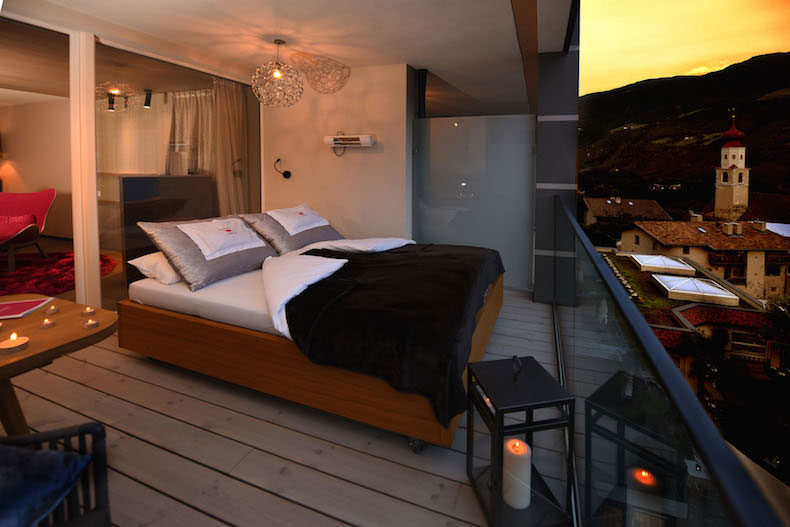 Preidlhof South Tyrol Italy - Romantic Suite with an outdoor Daybed on Balcony